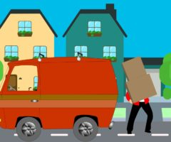 An illustration of a person juggling boxes from a moving van to a home.