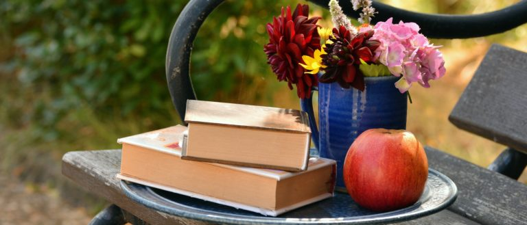 A collection of books on a garden bench.