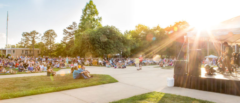 Concert-goers at UNC Asheville's Concerts on the Quad series.