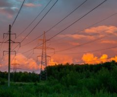 Electrical power lines at dusk.