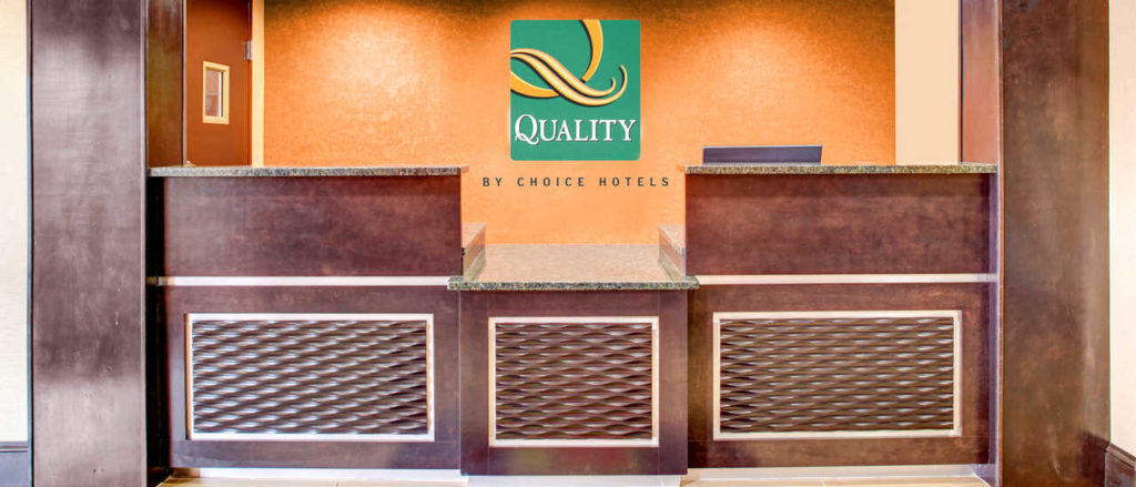 The front desk at Quality Inn Asheville Downtown Tunnel Rd.