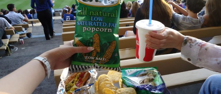 Concession food at a baseball game.