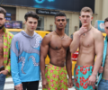 Models standing in the street for Charles Josef's The Retreat Collection for Men