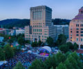 An aerial view of a downtown festival in Asheville.