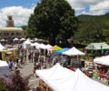 Vendor tents and attendees at the Mt. Mitchell Crafts Fair.