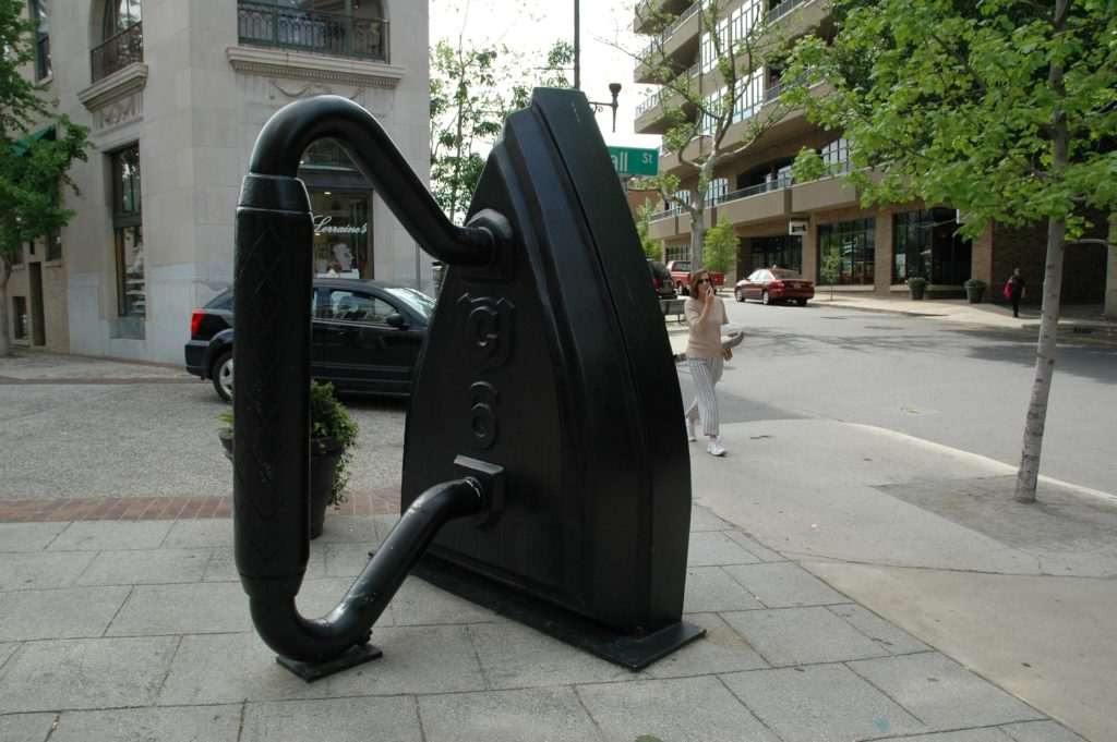 A large iron sculpture by artist Reed Todd.