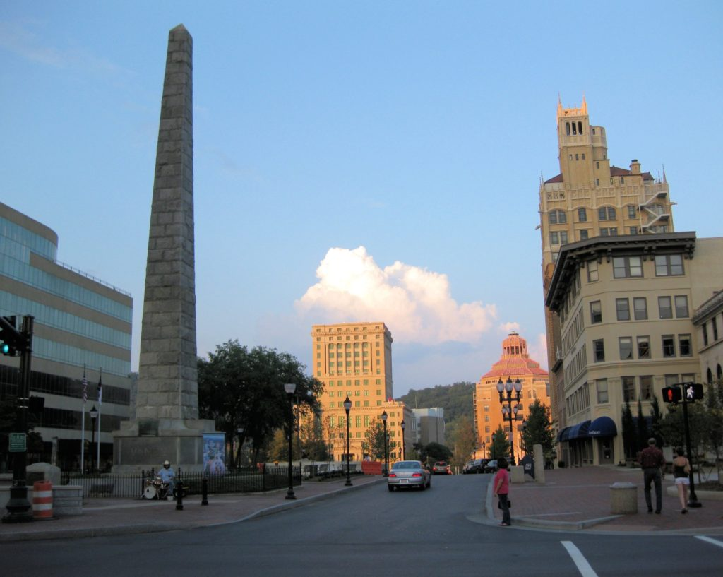 Downtown Asheville's Pack Square, in front of the Vance Monument.