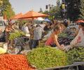 Vendors and visitors at a farmers market.