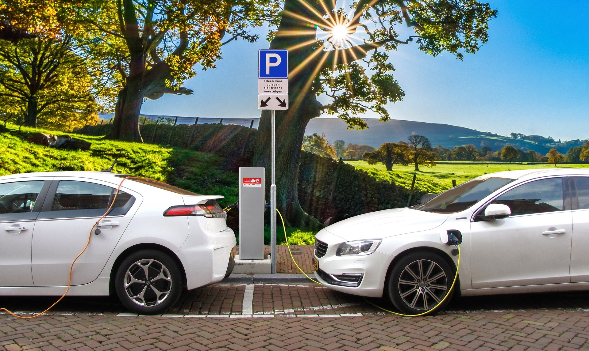 Two electric cars charging on the street.