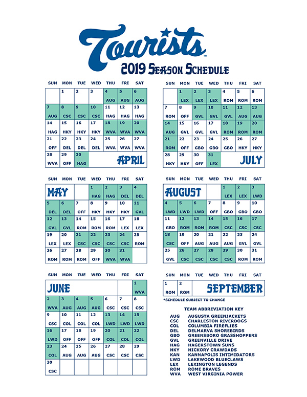 The Asheville Tourists 2019 schedule.