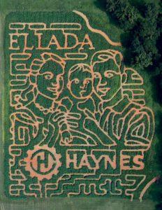 An aerial view of Eliada's 2018 corn maze.
