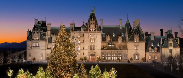 The exterior of the Biltmore Estate at Christmas.