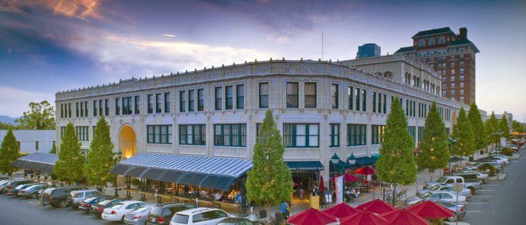 The exterior of Asheville's busy Grove Arcade.
