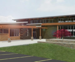 A rendering of the new East Asheville Library.