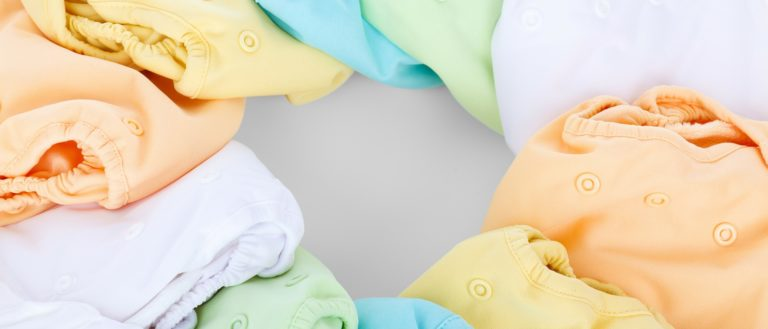 A colored assortment of diapers in a circle.