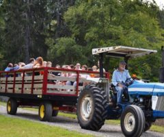 A farm tractor ride transporting several people.
