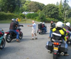 Riders at a checkpoint in the 2009 Isle of Vashon TT poker run.