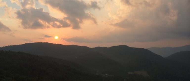 Sunset over the Blue Ridge Mountains from the Wildcat Rock Trail in Hickory Nut Gorge.