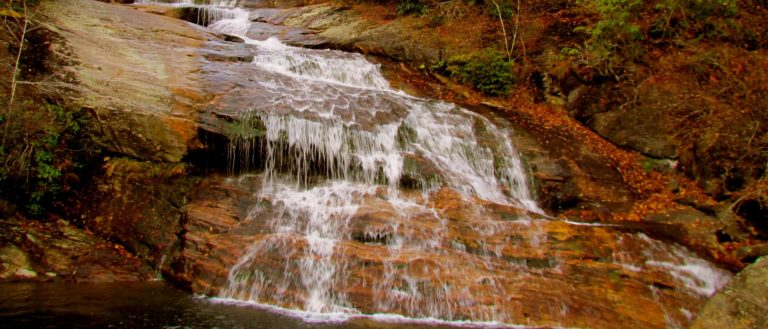 The base of a waterfall at Graveyard Fields in the fall.