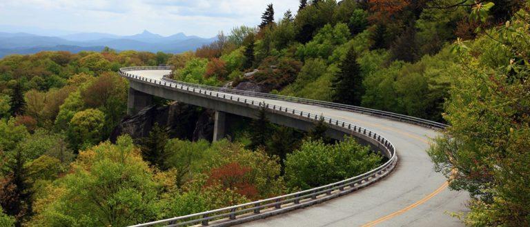 The Linn Cove Viaduct flowing through the Blue Ridge Mountains.
